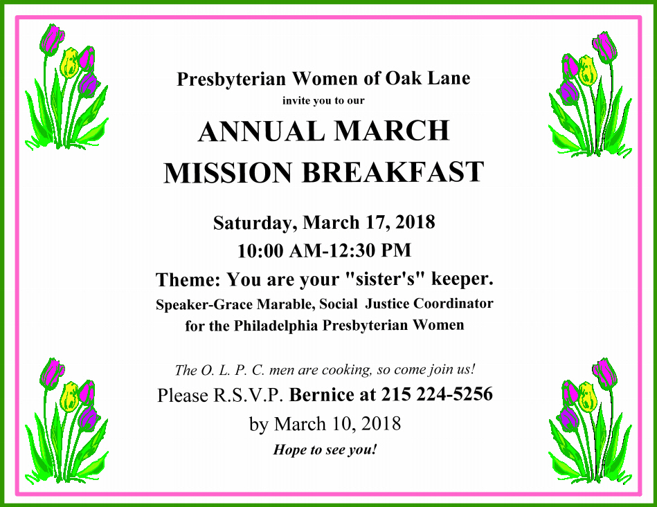 Annual March Mission Breakfast March 17 2018 The Oak