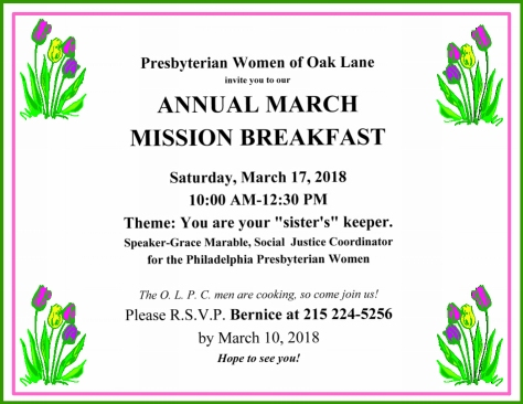 2018 PWOL Mission Breakfast