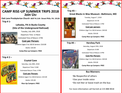 Camp Rise Up Summer Trips 2018 Join Us The Oak Lane Presbyterian Church