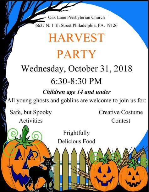 Harvest Party flyer 2018